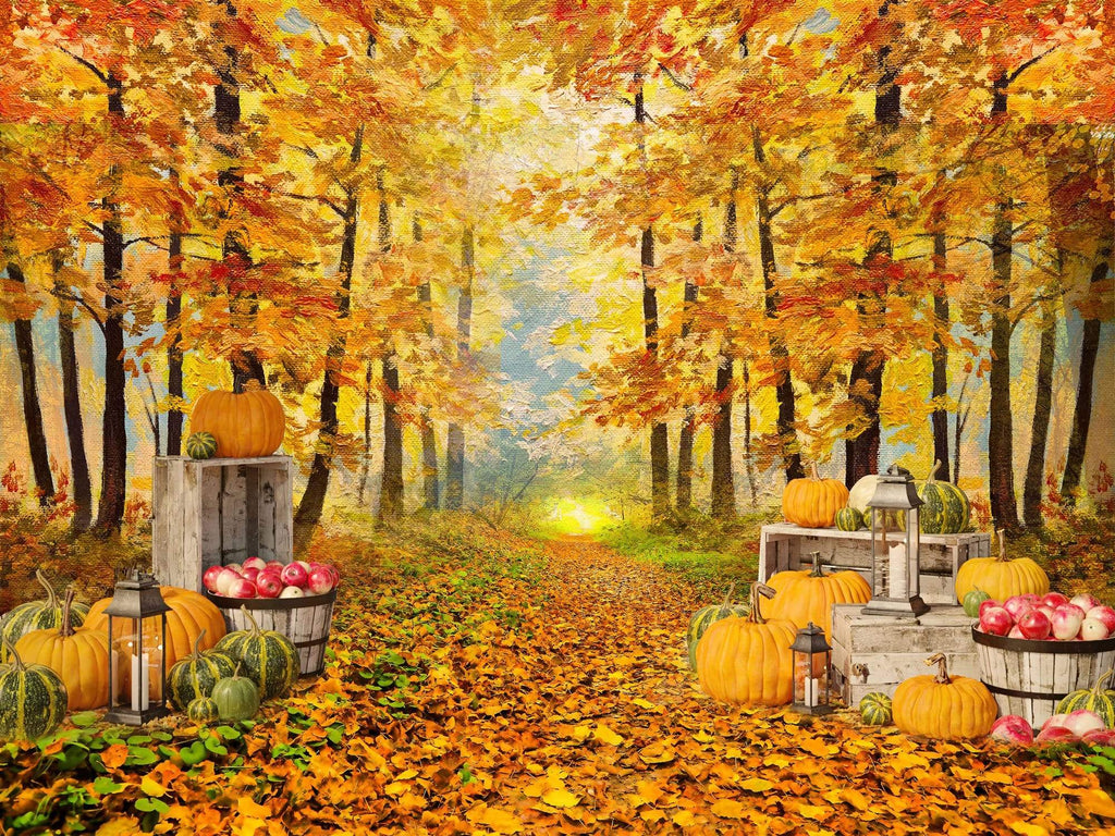 Katebackdrop:Kate Autumn Leaf Thanksgiving with Pumpkins Backdrop Designed By Jerry_Sina