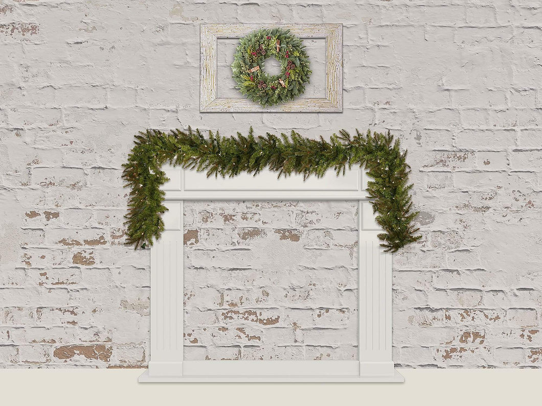 Katebackdrop£ºKate Christmas Wreath Backdrop Brick Wall Designed By Jerry_Sina