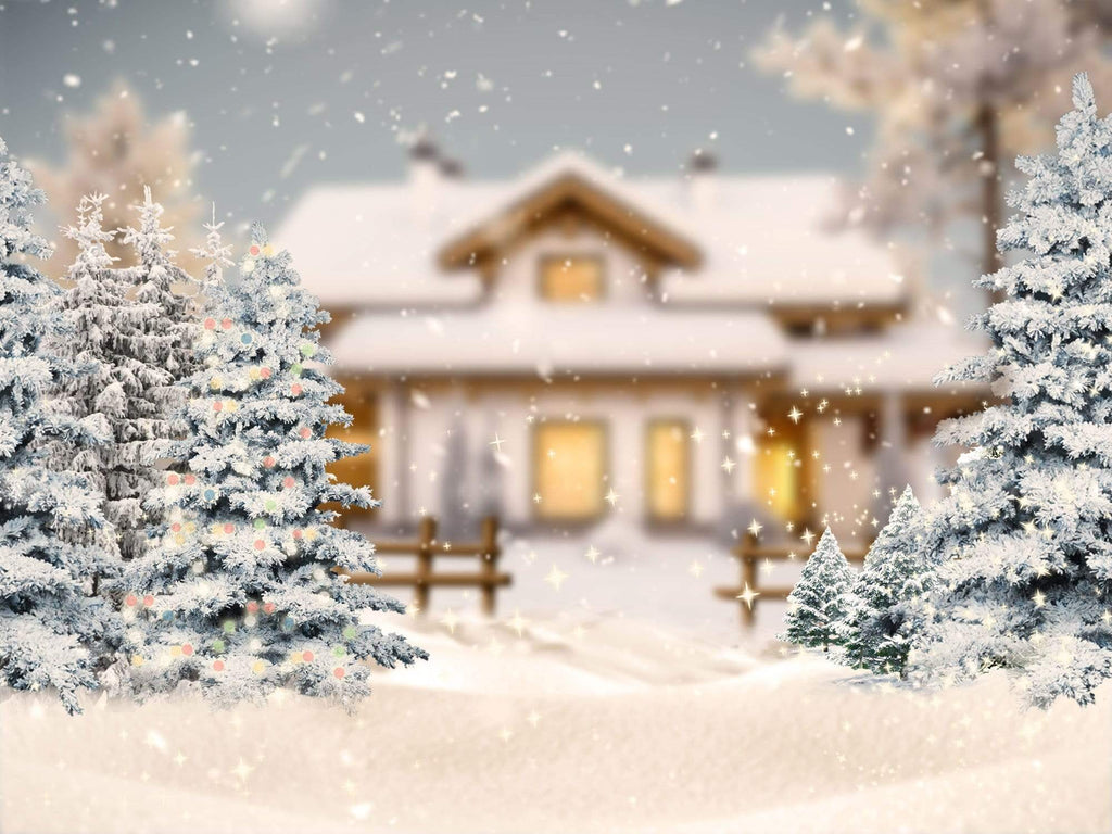 Katebackdrop£ºKate Christmas Winter Trees House Backdrop Designed By Jerry_Sina