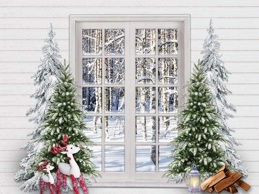 Load image into Gallery viewer, Katebackdrop£ºKate Christmas Trees Window Snow View Backdrop Designed By Jerry_Sina