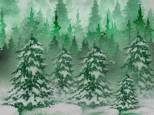 Katebackdrop:Kate Christmas Green Pine Trees Snow Farm Backdrop Designed By Jerry_Sina