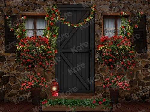 Katebackdrop:Kate Valentine's Day with Floral Barn Door Backdrop Designed By Jerry_Sina