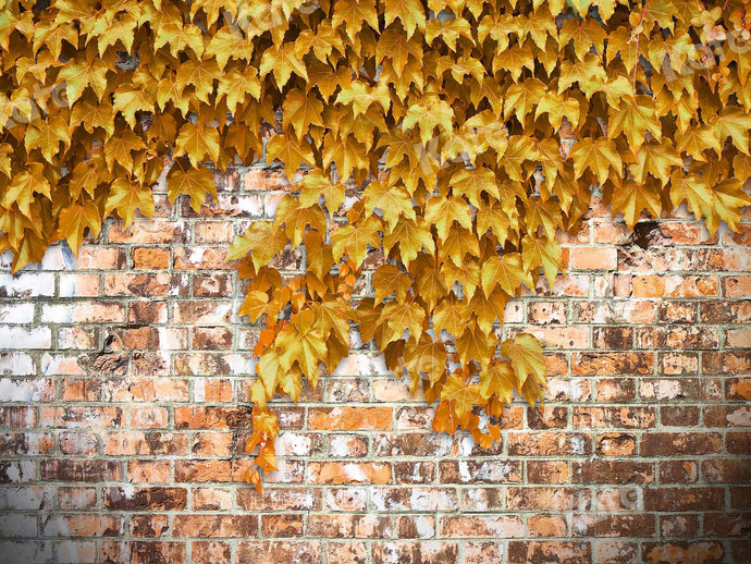 Kate Fall Backdrop Brick Wall With Yellow Creepers Designed By JS Photography
