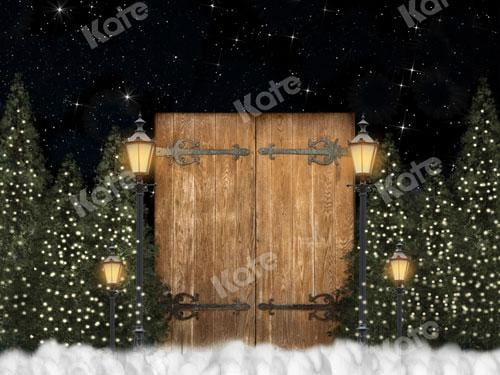 Kate Xmas Night Backdrop Door Lights Christmas Tree Designed By JS Photography