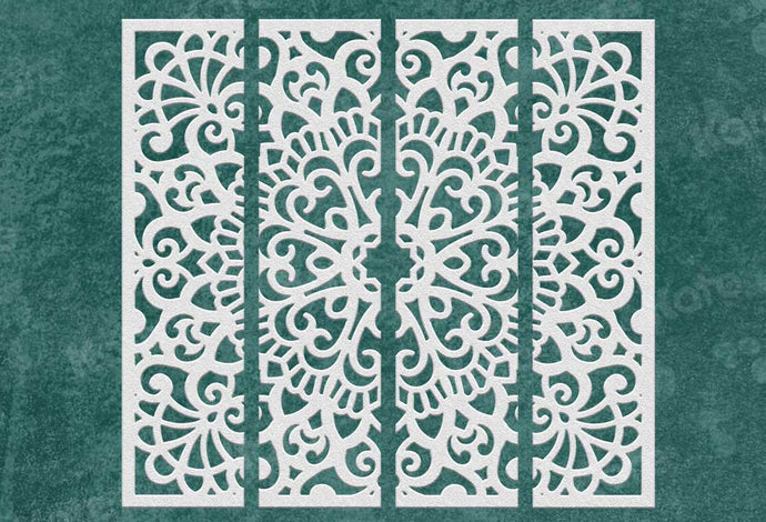 Kate Nordic Style Carved Parttern Green Wall Wedding Backdrops for Photography