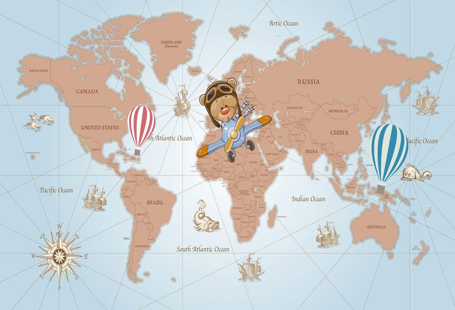 Load image into Gallery viewer, Katebackdrop:Kate Travel Around the World Pilot Children Backdrop for Photography Designed by JFCC