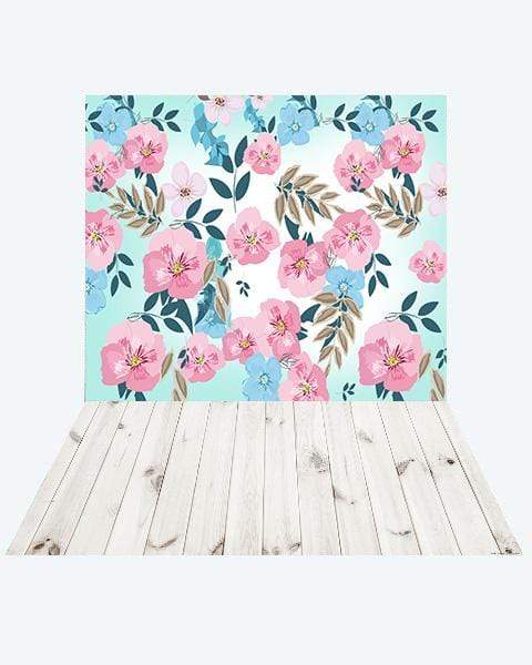 Katebackdrop¡êoKate Retro Spring Flowers Backdrop Designed by JFCC + White Wood Rubber Floor Mat