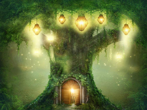 Kate Spirit Fairy Tree House Forest Children Backdrop for Photography Designed by JFCC