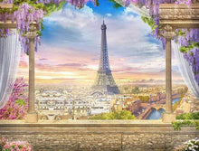 Load image into Gallery viewer, Katebackdrop:Kate Colored Flower Flowers Backdrop Eiffel Tower Paris City