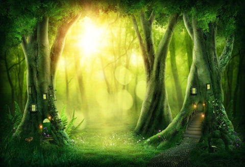 Katebackdrop:Kate Easter Green Fantasy Tree House Forest Backdrop