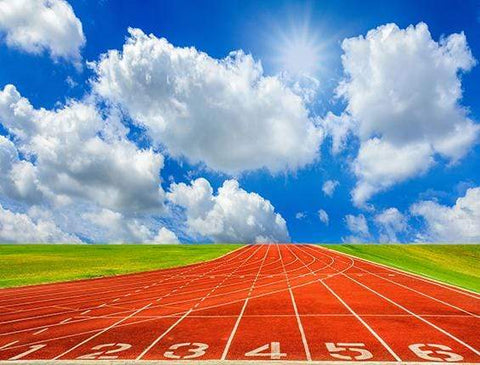 Katebackdrop:Kate Running Track Blue Sky Backdrop Sport