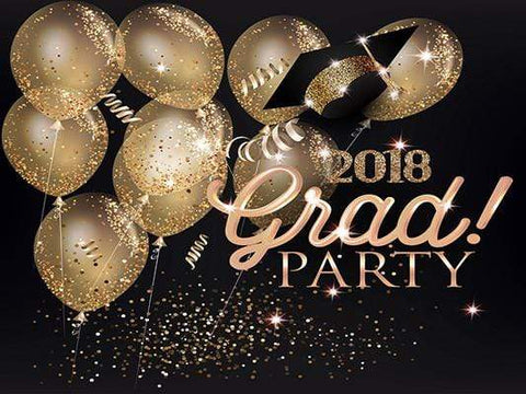 Kate Graduation Ceremony Party Dark Background with Shiny Golden Balloon Backdrop