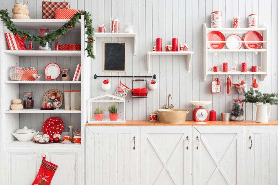 Kate Christmas Kitchen Backdrop White Wall for Photography