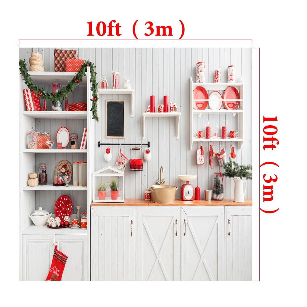 Load image into Gallery viewer, Kate Christmas Kitchen Backdrop White Wall for Photography