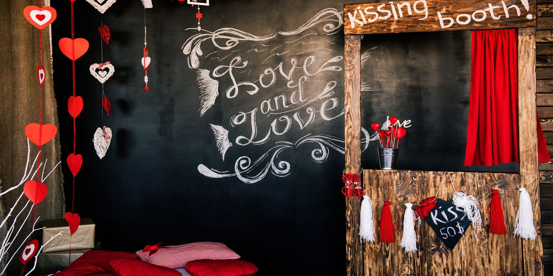 Load image into Gallery viewer, Kate Kiss Booth Valentines Backdrop for Photography