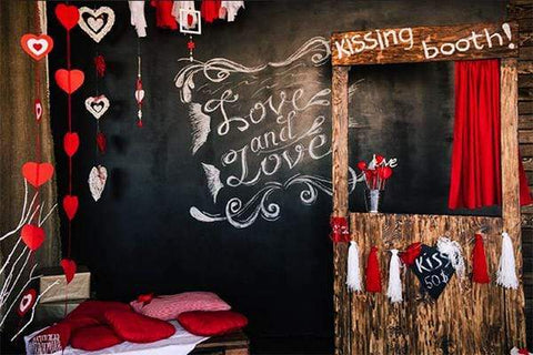 Kate Kiss Booth Valentines Backdrop for Photography