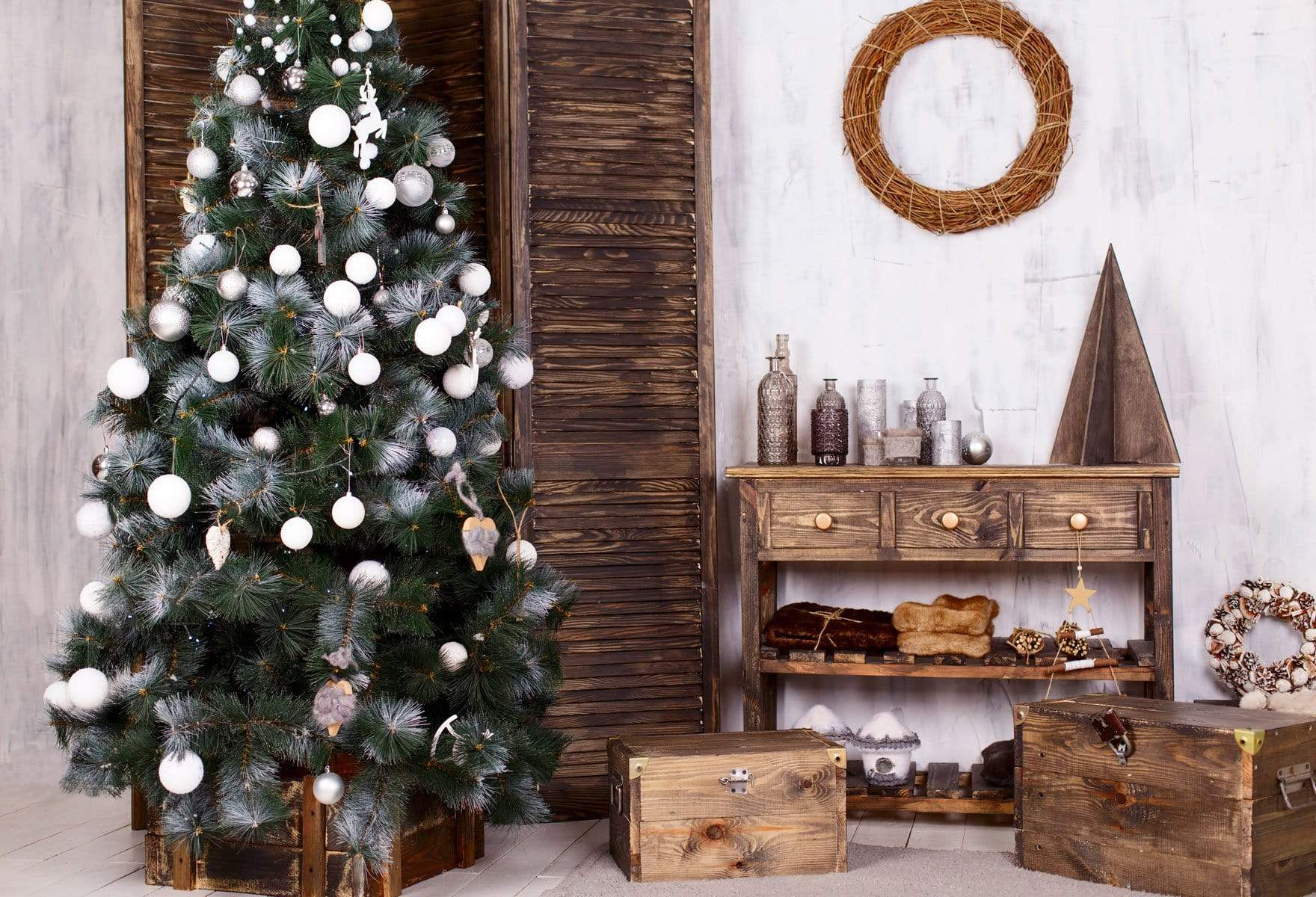 Load image into Gallery viewer, Katebackdrop£ºKate Christmas Tree And Wood Table Decoration for Photography
