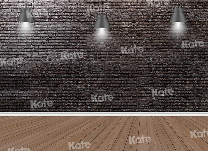 Kate Brick Wall Lights Wood Floor Backdrop for Photography