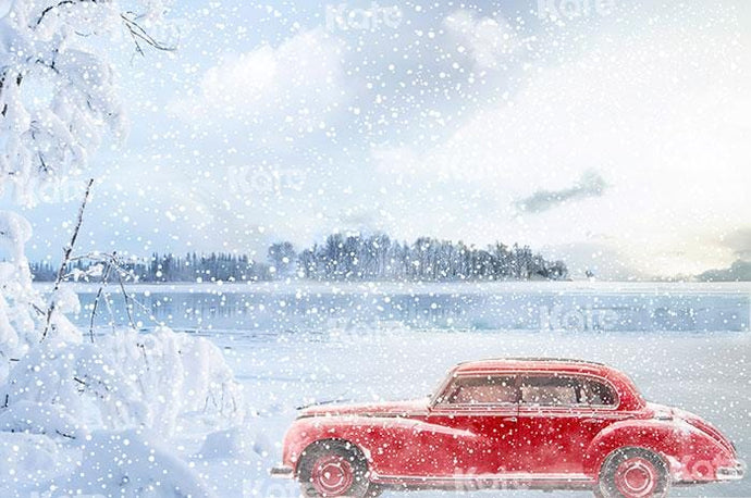 Kate Fine Art Snow Scene Red Car Backdrop for Photography