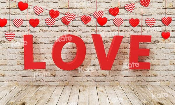 Kate Valentine's Day Love Brick Wood Backdrop for Photography