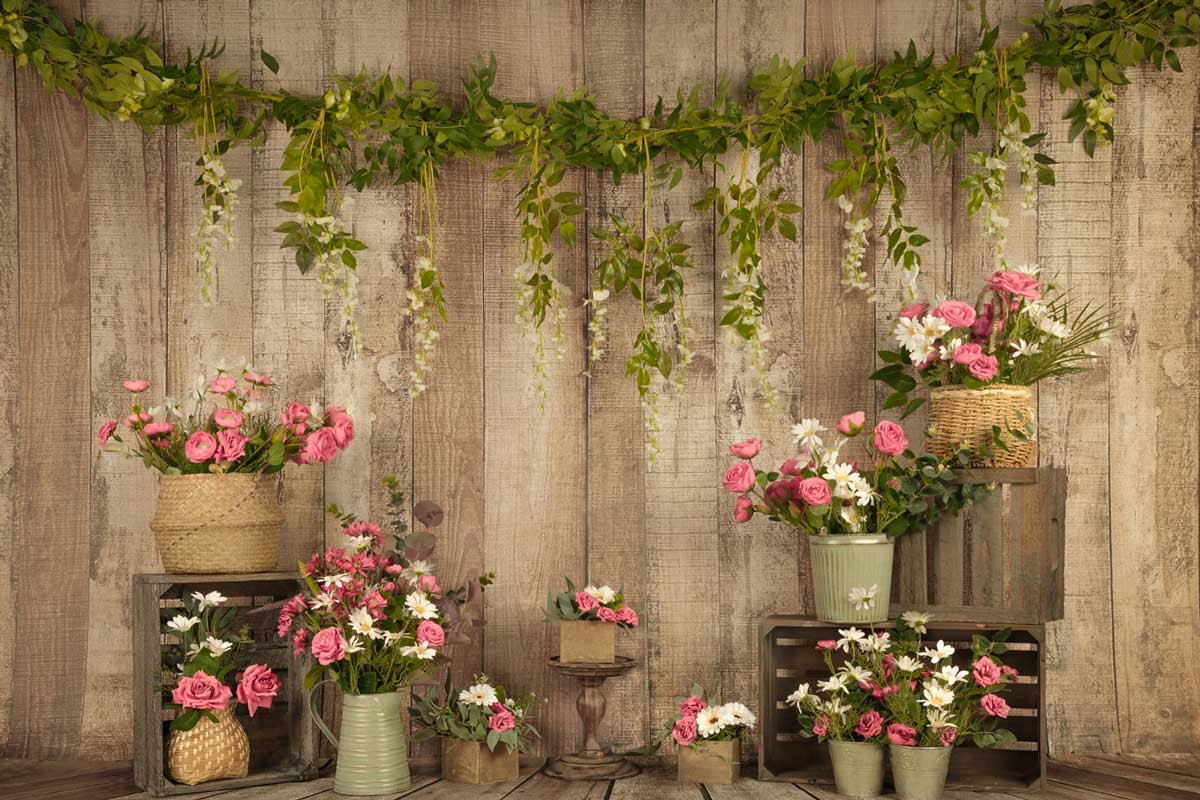 Load image into Gallery viewer, Kate Pink Floral Wooden Summer/Mother's Day Backdrop Designed by Jia Chan Photography