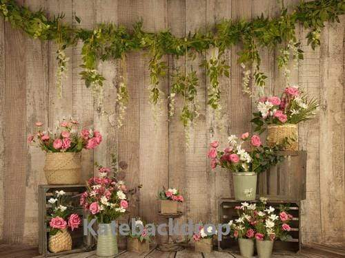 Katebackdrop£ºKate Pink Floral Wooden Spring/Mother's Day Backdrop Designed by Jia Chan Photography