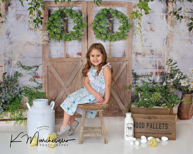 Katebackdrop:Kate Spring Green Plants Barn Door Backdrop Designed by Jia Chan Photography