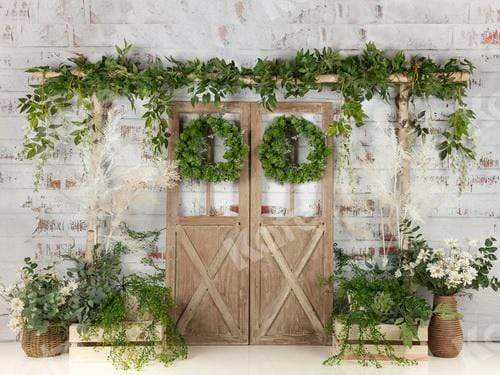 Kate Spring Green Plants Barn Door Backdrop Designed by Jia Chan Photography