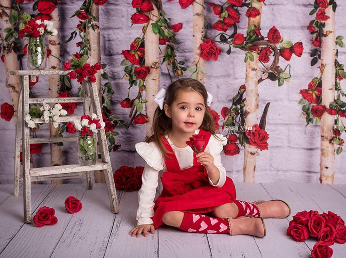 Katebackdrop:Kate Valentines\Mother's Day Wooden Stick with Roses Backdrop Designed by Jia Chan Photography