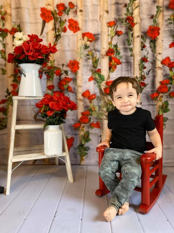 Load image into Gallery viewer, Katebackdrop£ºKate Valentines\Mother's Day Wooden Stick with Roses Backdrop Designed by Jia Chan Photography
