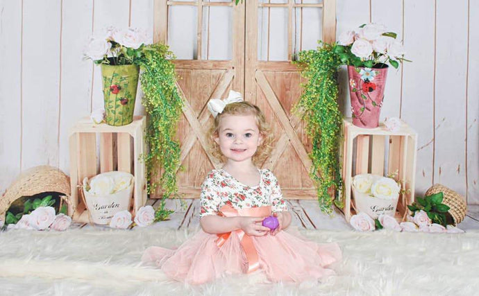 Katebackdrop:Kate Floral Barn Door Spring/Easter Backdrop Designed by Jia Chan Photography