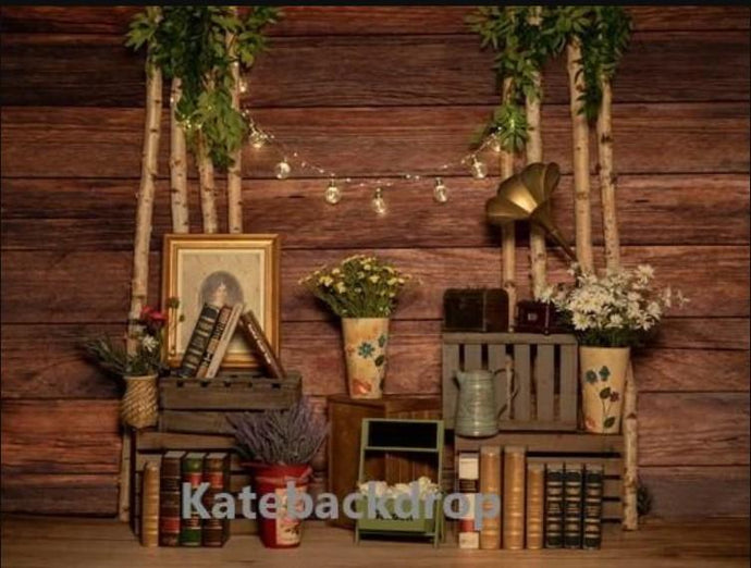 Katebackdrop:Kate Valentine's Day Light Wooden Phonograph Backdrop Designed by Jia Chan