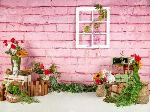 Katebackdrop:Kate Spring Flowers Pink Brick Wall Mother's Day Backdrop Designed by Jia Chan Photography