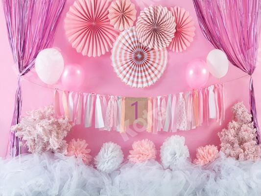 Kate 1 Birthday Cake Smash Balloons Backdrop Designed by Jia Chan Photography