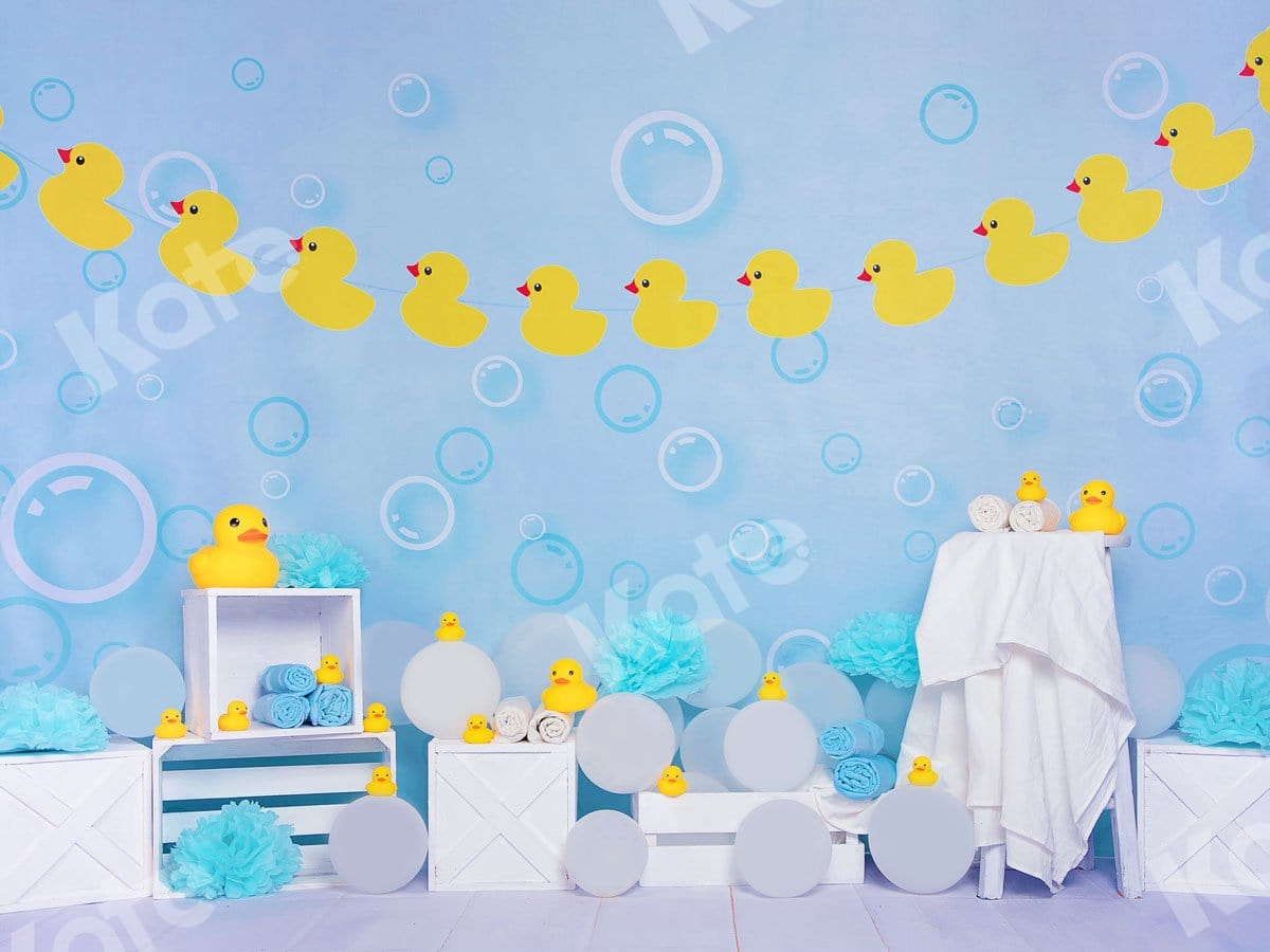 Load image into Gallery viewer, Kate Bathtime Duck Blue Backdrop Designed by Jia Chan Photography