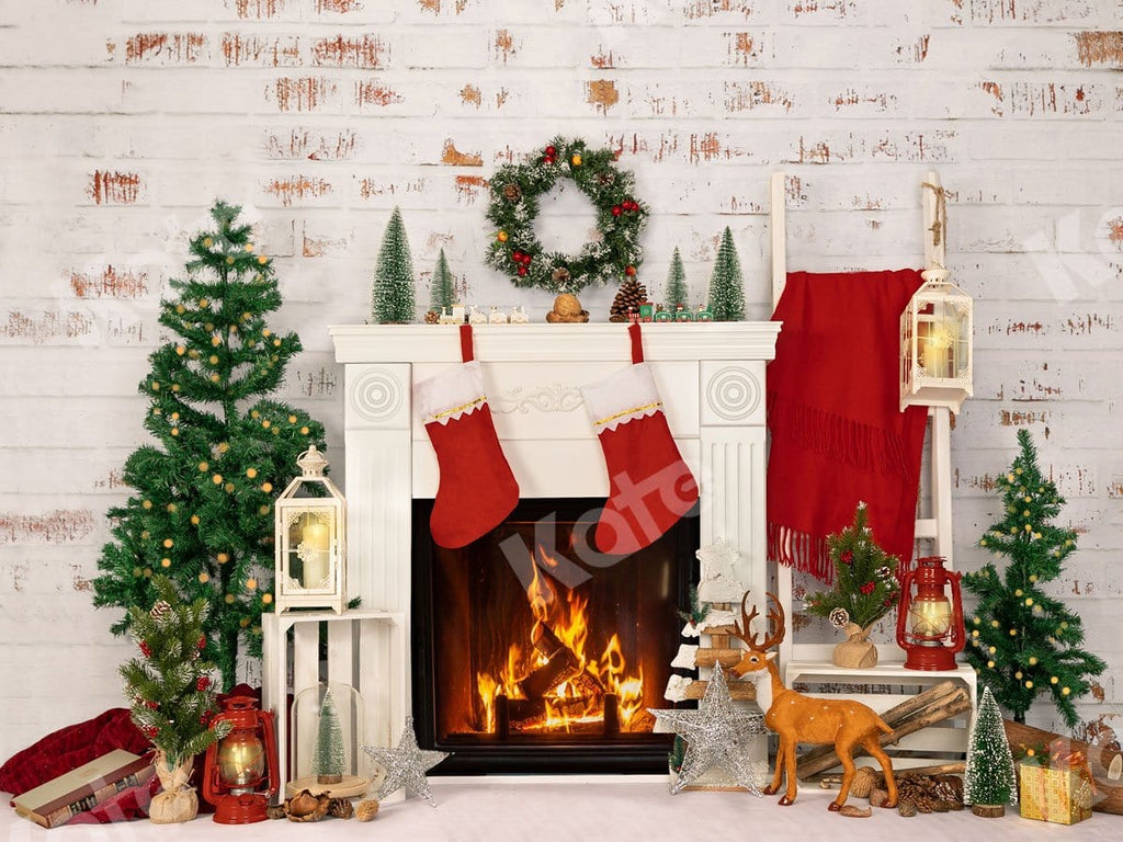 Kate Fireplace Xmas Tree Backdrop Designed by Jia Chan Photography