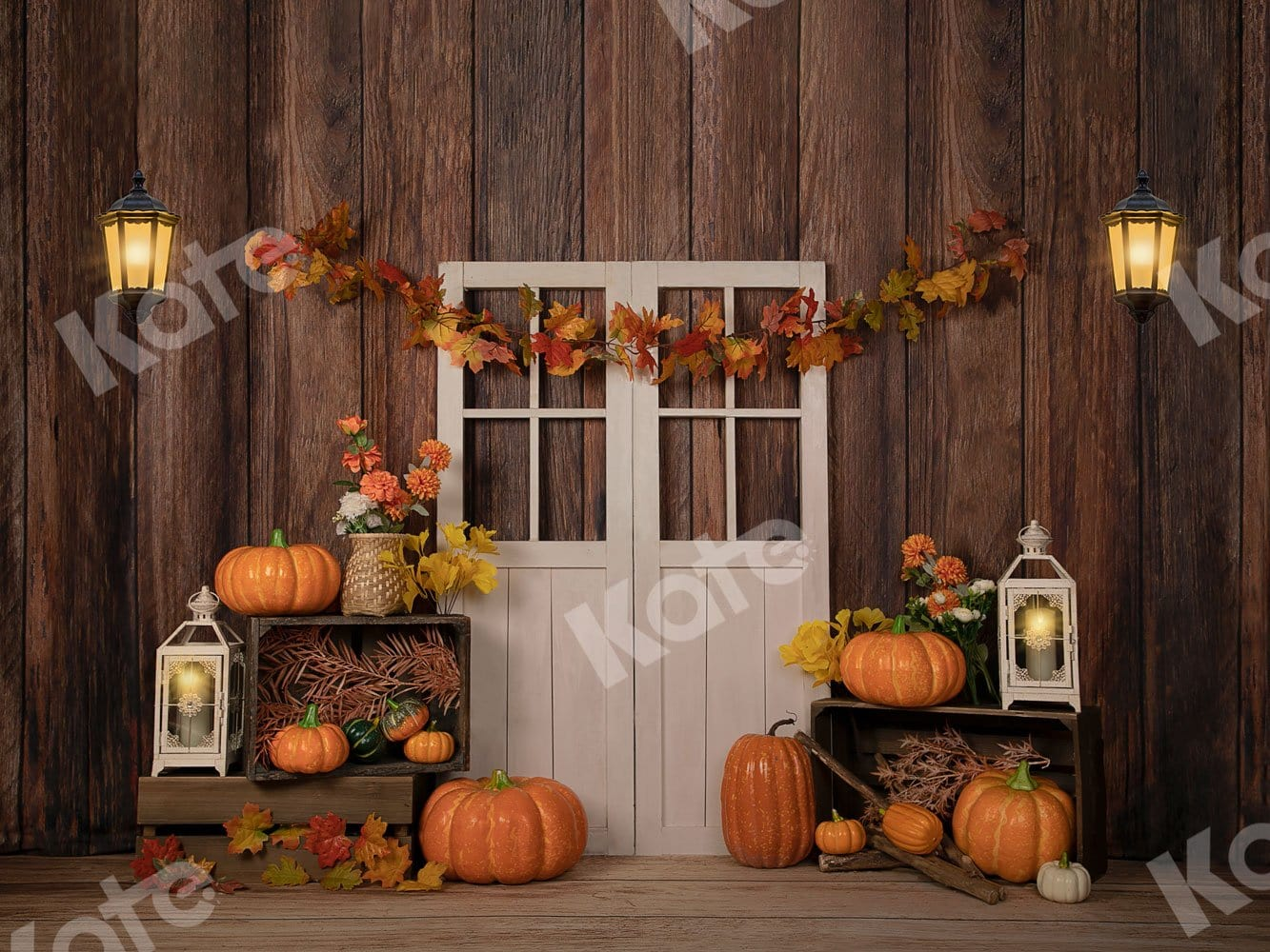 Load image into Gallery viewer, Kate Autumn/Thanksgiving Pumpkins with Lights Backdrop Designed by Jia Chan Photography