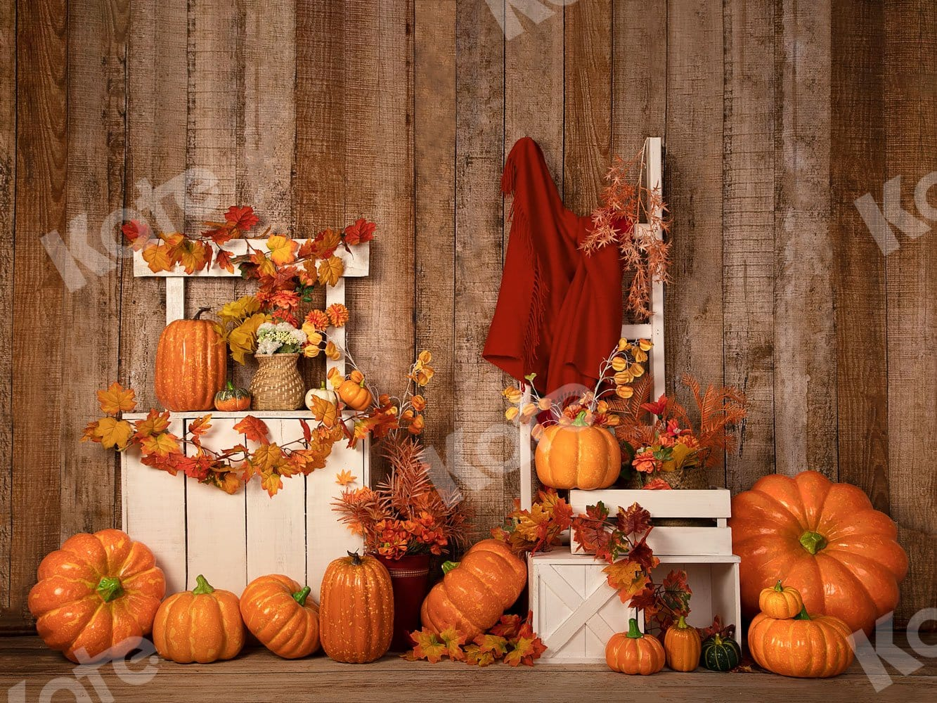 Load image into Gallery viewer, Kate Autumn/Thanksgiving Halloween Pumpkins Stand Backdrop Designed by Jia Chan Photography