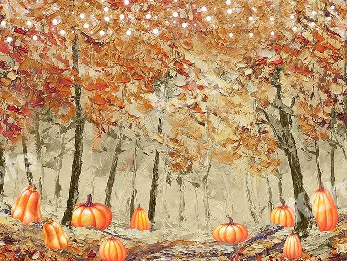 Kate Fine Art Backdrop Fall Forest Pumpkins Designed by GQ