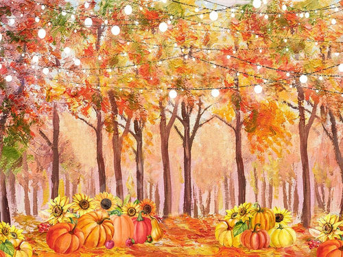 Kate Fall Forest Backdrop Pumpkins Lights Watercolor Designed by GQ