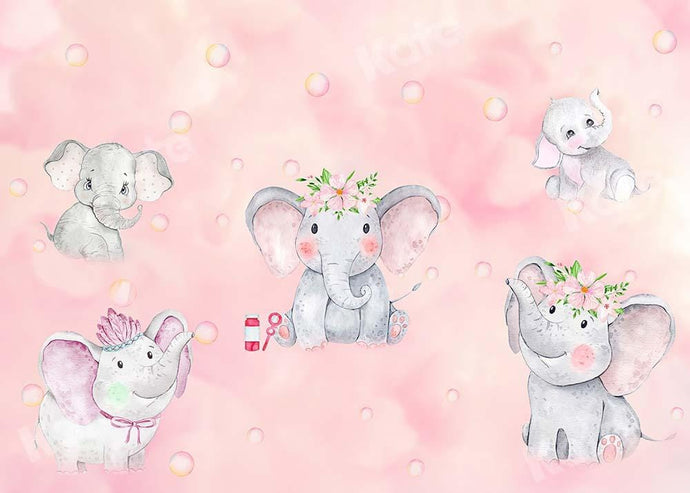 Kate Bathtime Pink Elephant Backdrop Designed by GQ