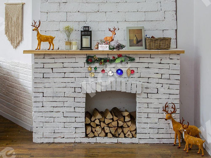 Kate Christmas Backdrop White Fireplace Designed by Jia Chan Photography