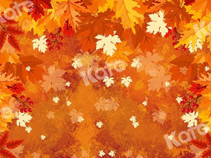 Kate Fall Backdrop Yellow Fallen Leaves Designed by Chain Photography