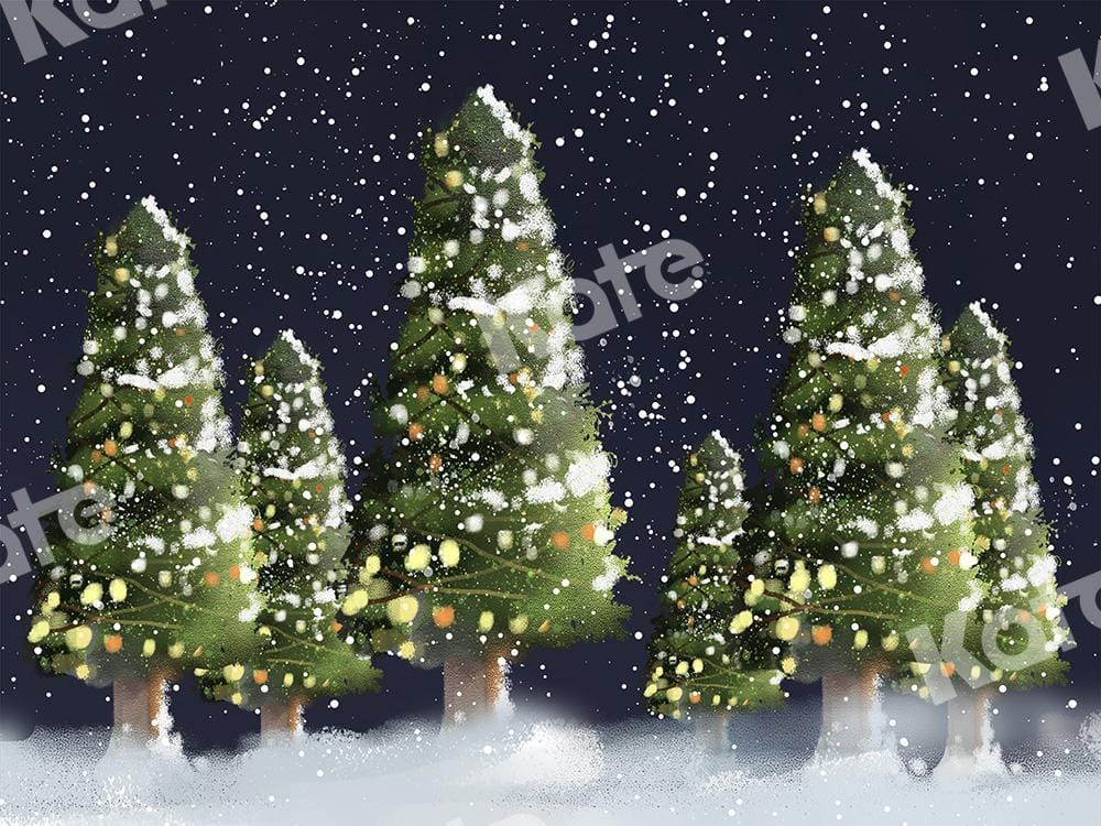 Kate Xmas Backdrop Christmas Trees with Lights Snow Night Designed by Chain Photography