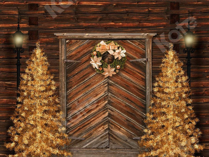 Kate Xmas Backdrop Gold Christmas Trees & Door Designed by Chain Photography