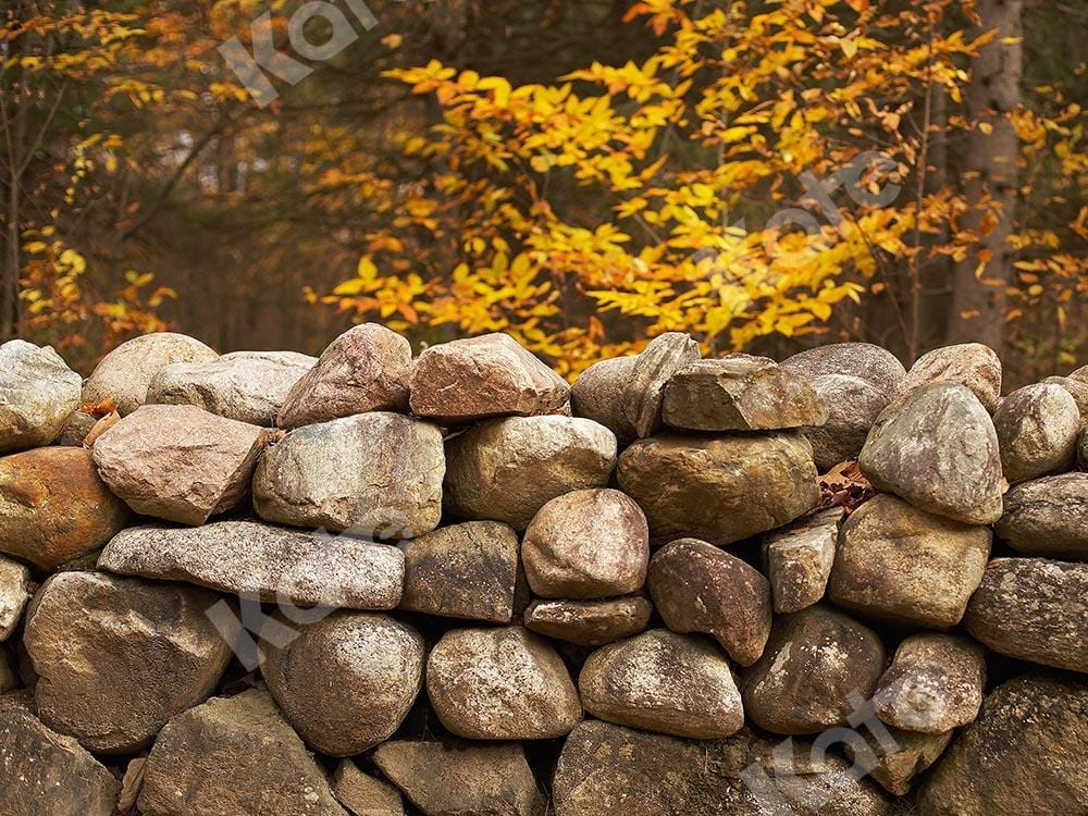 Kate Fall Forest Stone Wall Backdrop Designed by Emetselch