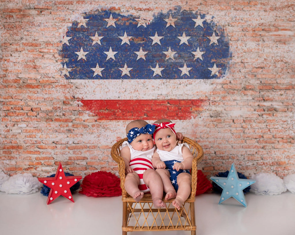 Kate Heart US Flag Brick Backdrop Designed by Jia Chan Photography