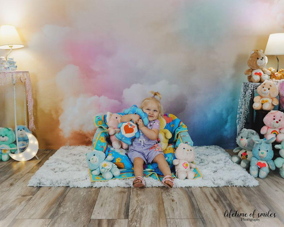 Load image into Gallery viewer, Kate Cake Smash Backdrop Rainbow Clouds Designed by Chain Photography
