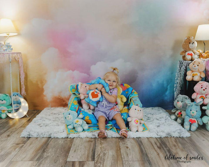 Kate Cake Smash Backdrop Rainbow Clounds Designed by Chain Photography