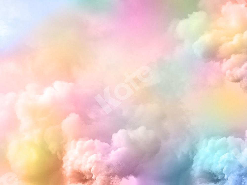 Kate Cake Smash Backdrop Rainbow Clouds Designed by Chain Photography